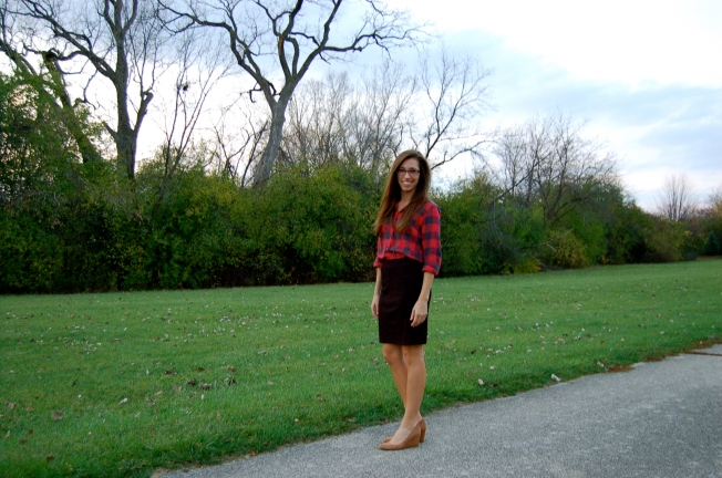 j. crew, j. crew plaid, palid shirt, buffalo check shirt, nude wedges, pencil skirt