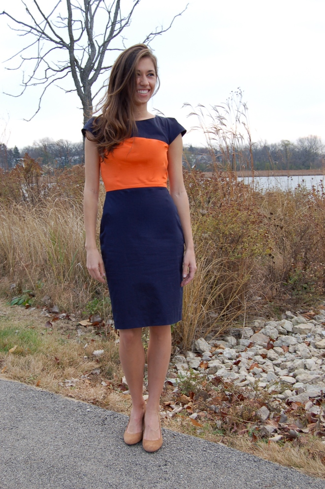 french connection dress, colorblock dress, j. crew suede wedges