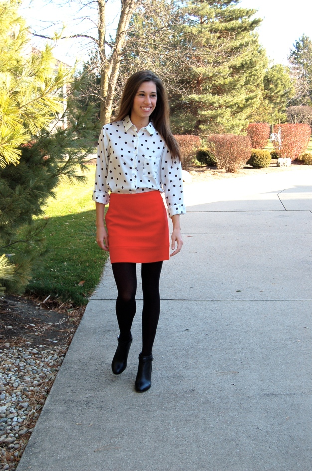 coach booties, polka dot blouse, mini skirt and tights