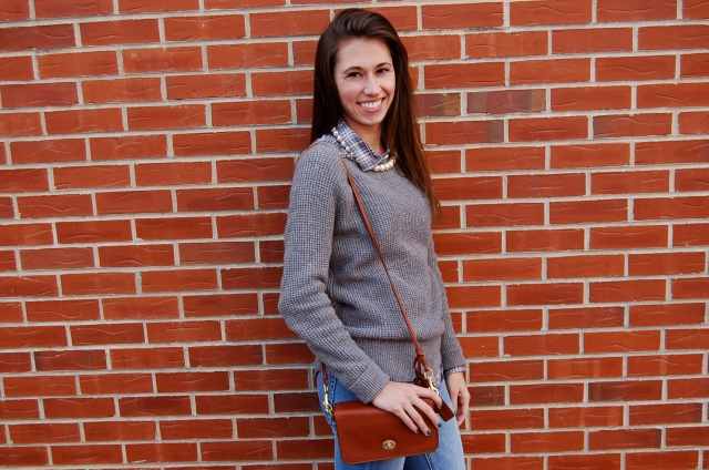 coach legacy purse, shoulder bag, j. crew sweater, pearl necklace, statement necklace, fall fashion