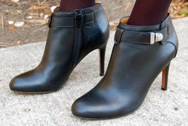 coach shoes, coach leather boots, coach ankle booties, black booties