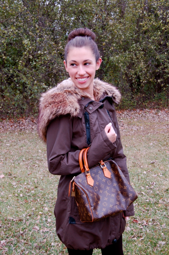 outerwear, vince camuto boots, louis vuitton bag, stylish outwear, faux fur coat, sock bun