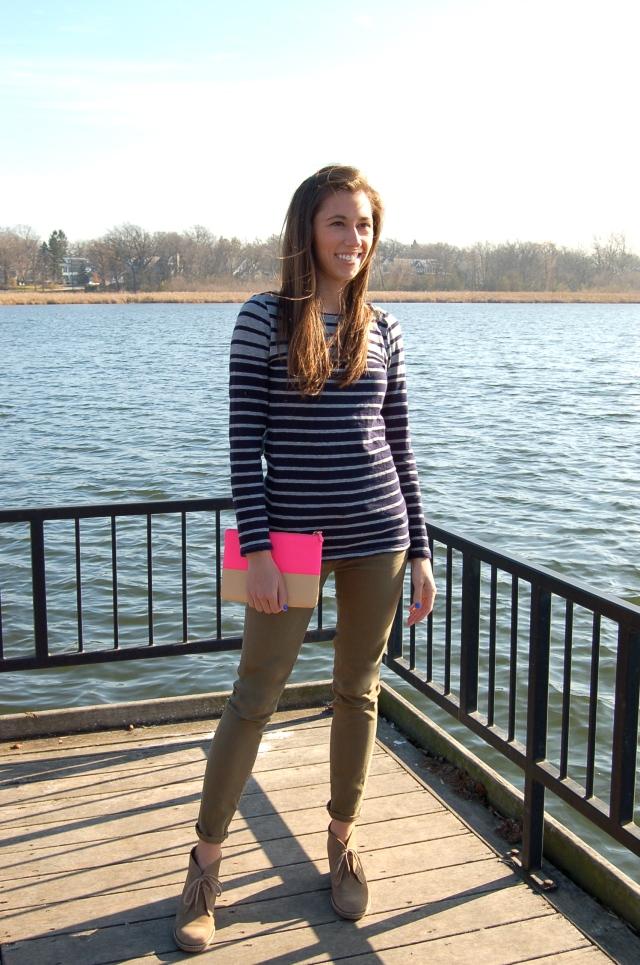 j. crew stripe shirt, suede booties, skinny jeans