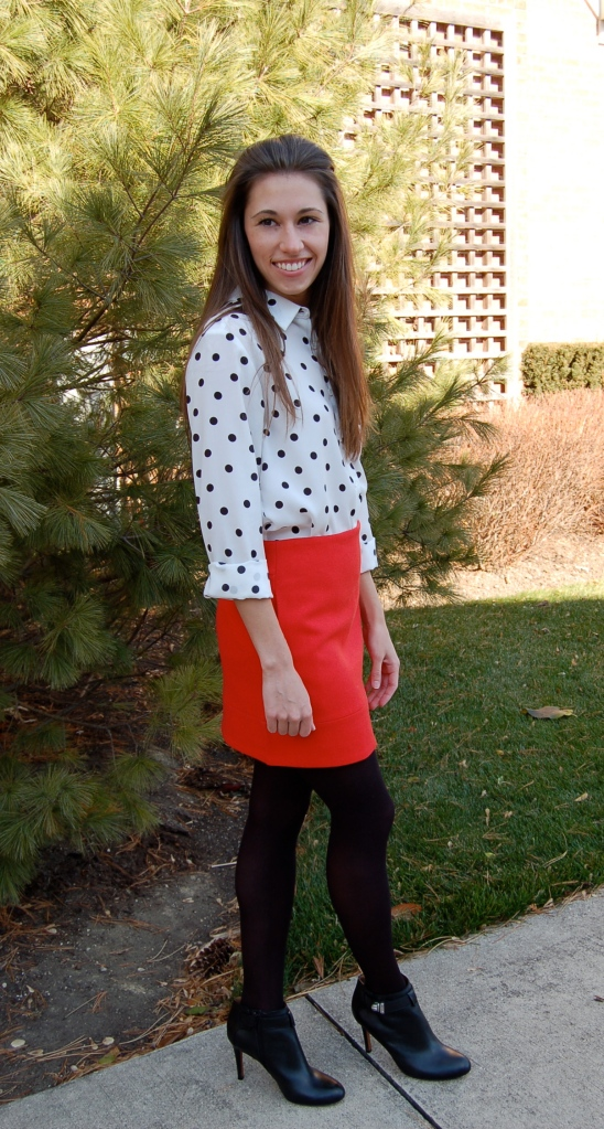 polka dot blouse, mini skirt with tights, leather booties