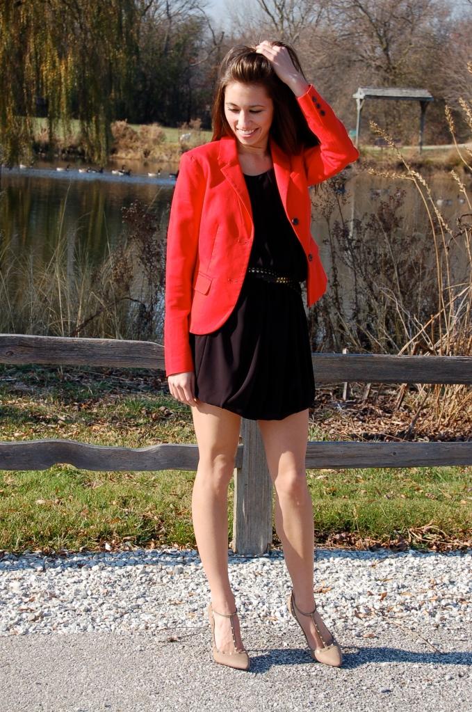 studded pumps, red blazer, black dress, little black dress, classic black dress