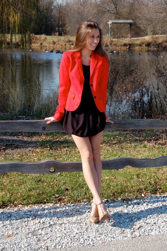 heels with studs, red blazer, little black dress