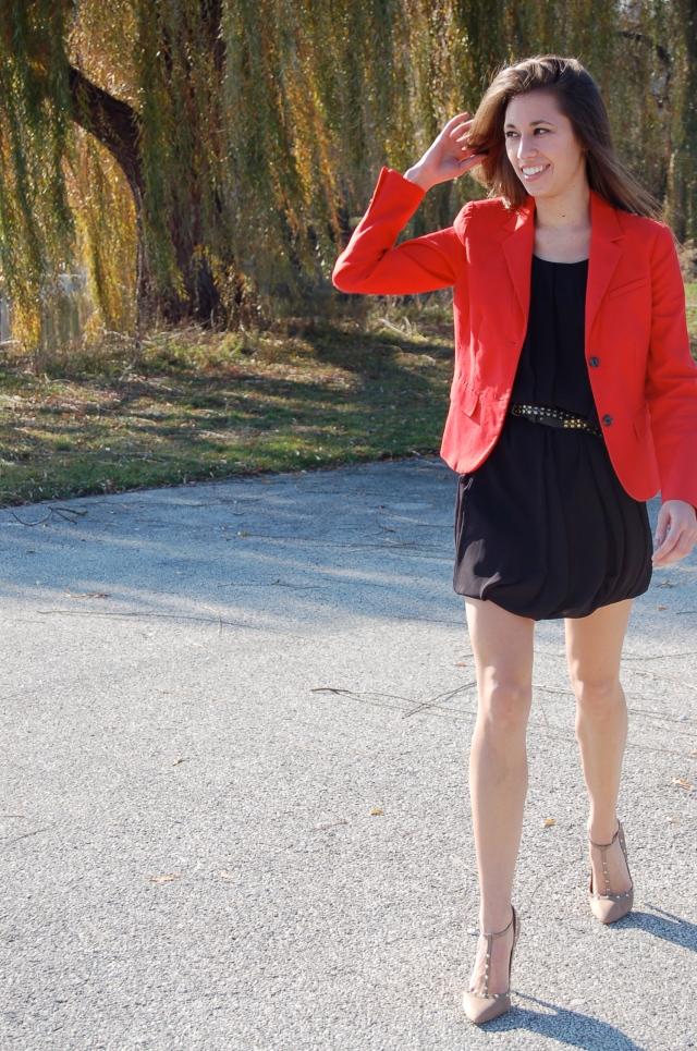 stilettos with studs, red blazer, classic black dress, little black dress