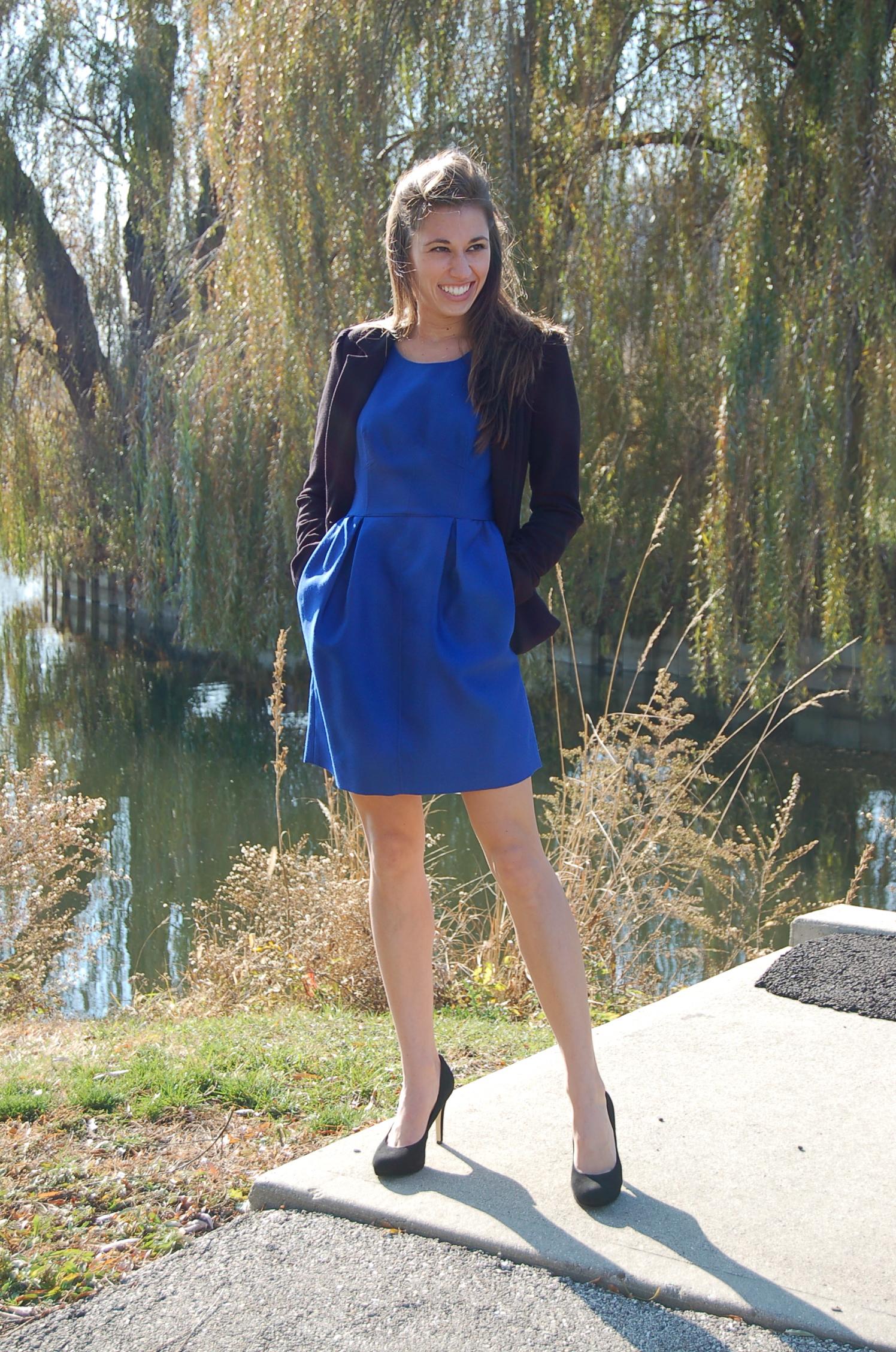 df99580e92370 blue dress black blazer – Little Black Dress | Black Lace Bridesmaid ...