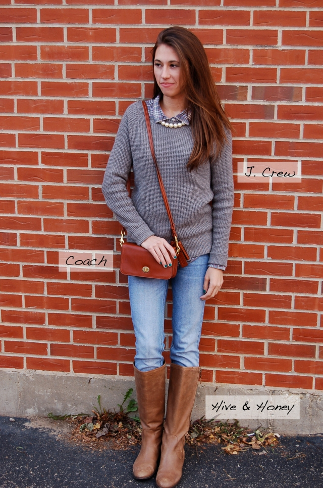 riding boots, coach legacy purse, j. crew sweater, pearl necklace, fall outfit