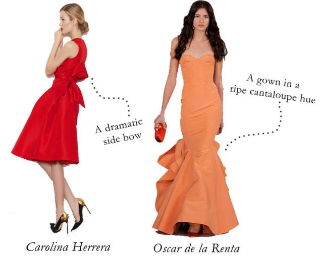 oscar de la renta pre-fall 2013, oscar de la renta orange gown pre-fall, carolina herrera pre-fall 2013, carolina herrera red dress with bow