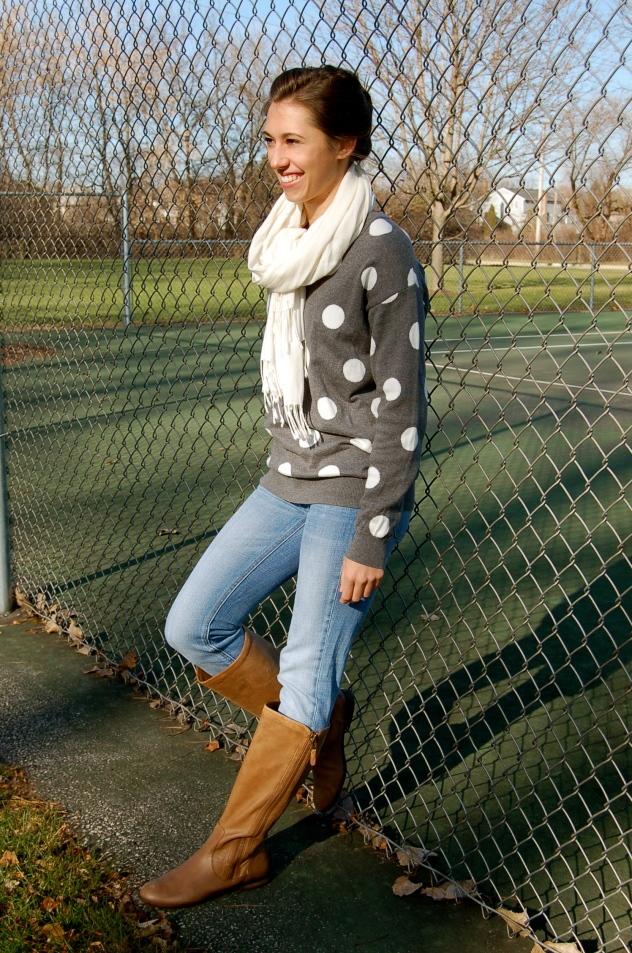 polka dot sweater, forever 21 polka dot sweater