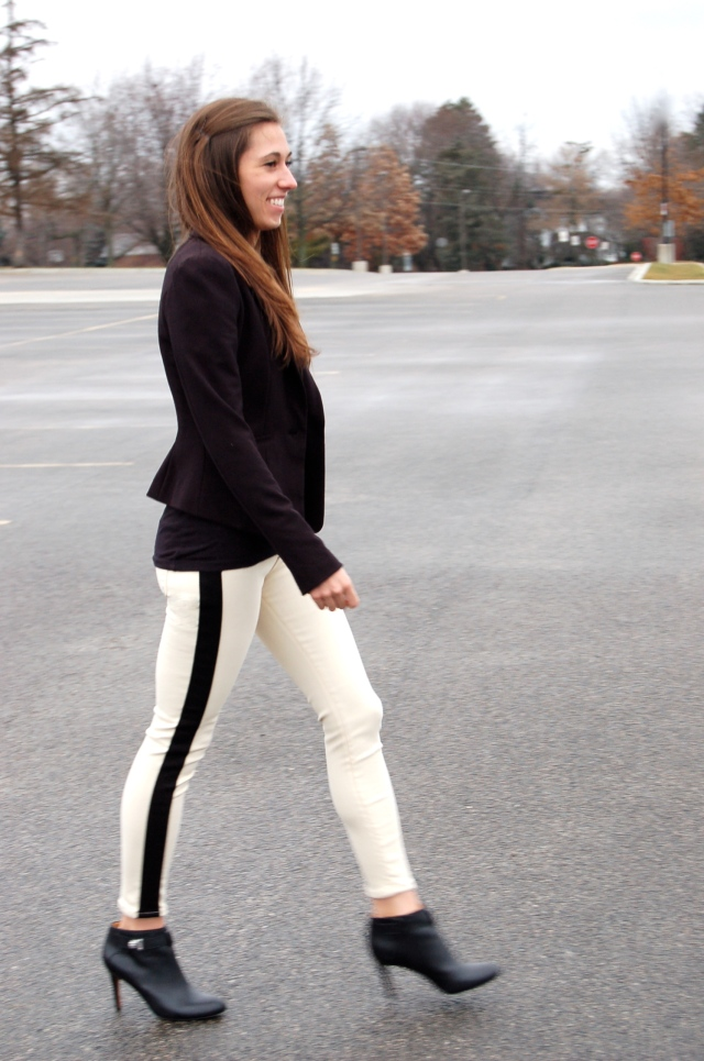 tuxedo jeans and blazer, skinny jeans and booties, coach booties, coach ankle boots