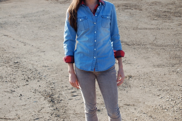 j. crew plaid shirt, denim shirt outfit, how to wear a denim shirt