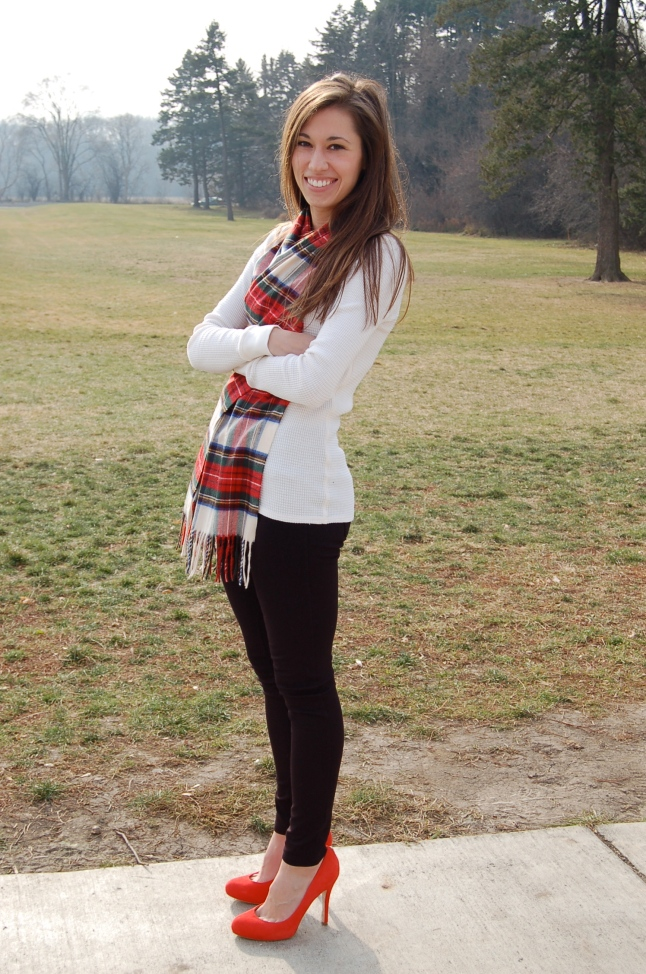 plaid scarf, red and green plaid, thermal shirt, red pumps