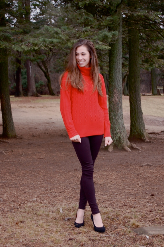 red sweater and leggings, red cableknit sweater, thick cableknit red sweater