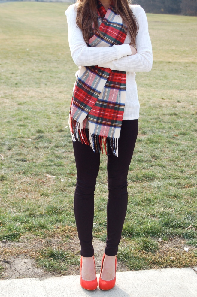 tartan scarf, red and green plaid, christmas scarf, thermal shirt, red pumps, ivanka trump pumps