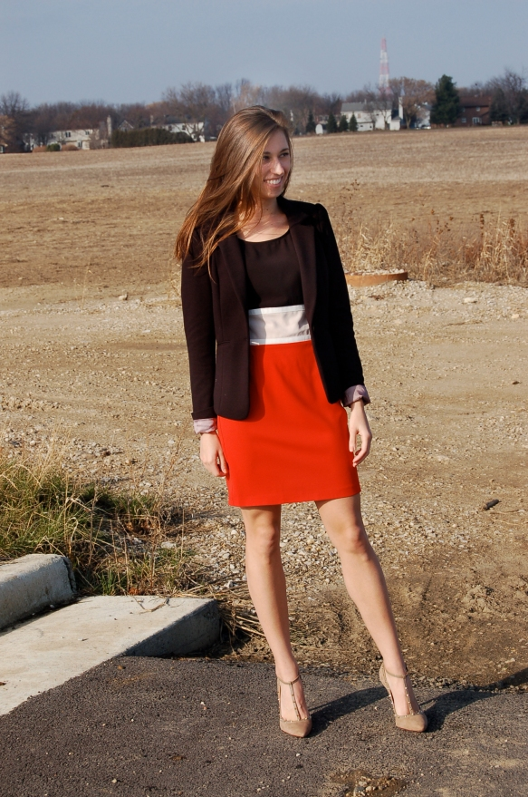 sheath dress, sheath dress and blazer, colorblock sheath dress, black blazer and dress,