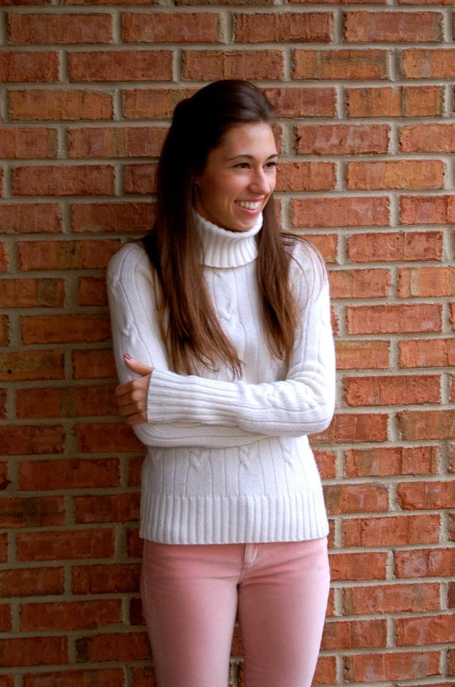 velvet jeans, pink velvet jeans, j. crew pants, chunky turtleneck sweater