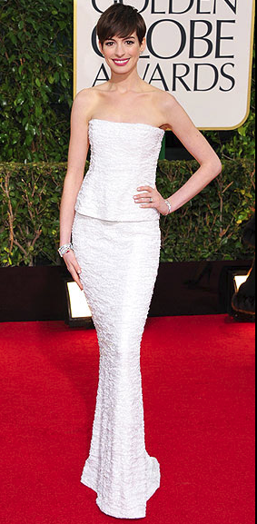 golden globes 2013 fashion, best dressed at the golden globes, anne hathway chanel couture