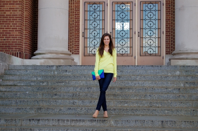 j. crew toothpick jeans, bright colors in winter, j. crew colorblock clutch, j. crew outfit, j. crew tan suede wedges
