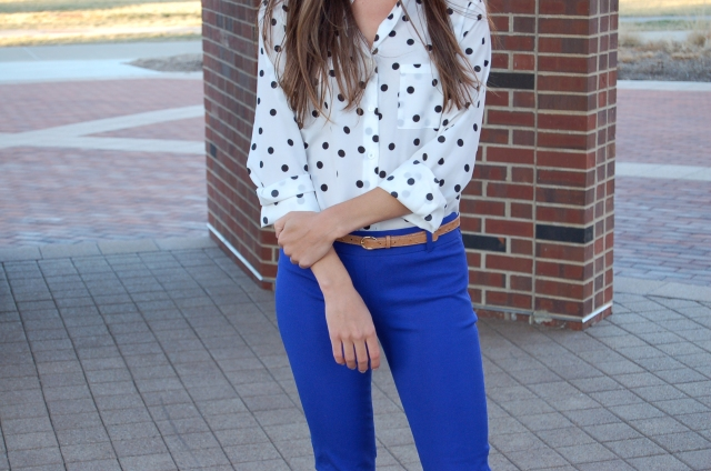 polka dot blouse outfit, j. crew minnie pants, bright blue pants