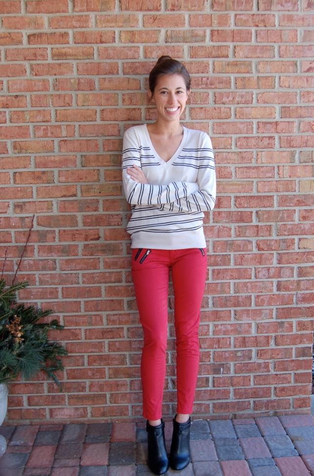 gap pants, skinny pants, red skinny pants, zipper pocket pants