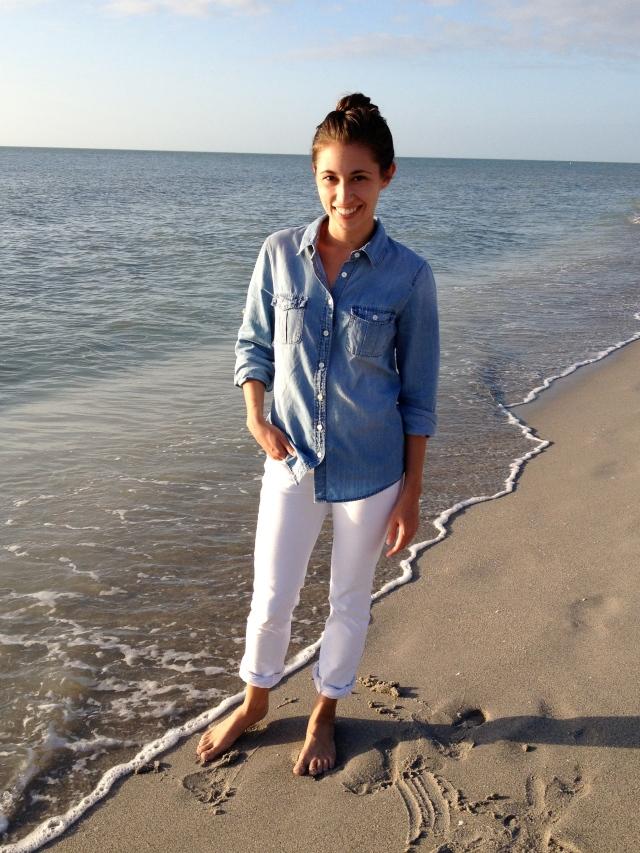 white jean, denim shirt, j. crew white jeans, j. crew denim shirt, white jeans on beach, beach outfit