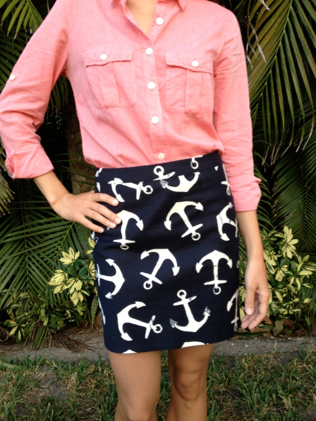 anchor print, nautical outfit, preppy outfit