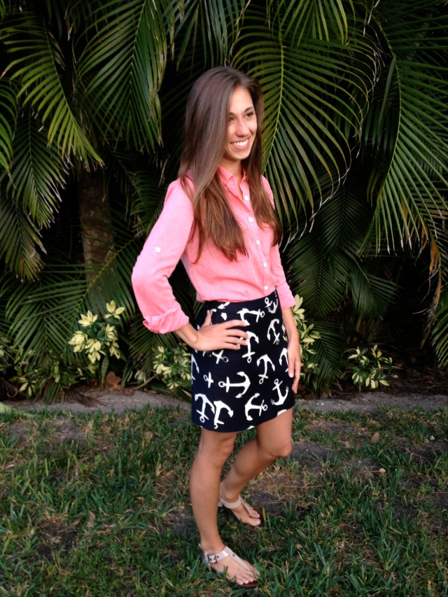 anchor print, anchor skirt, preppy outfit, vacation outfit, nautical skirt