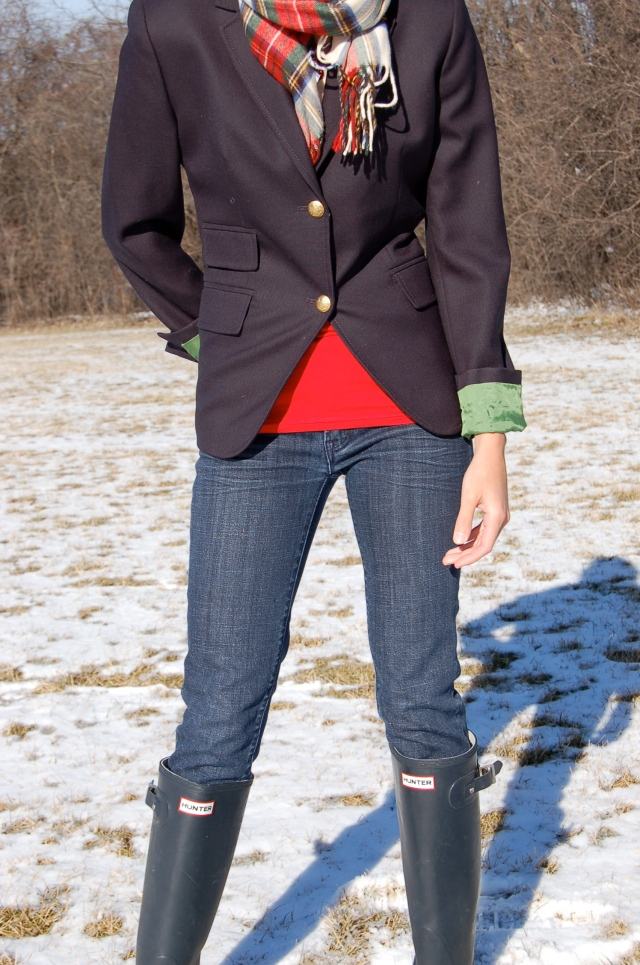 preppy winter outfit, blazer and hunter boots, hunter boot outfit, winer blazer outfit