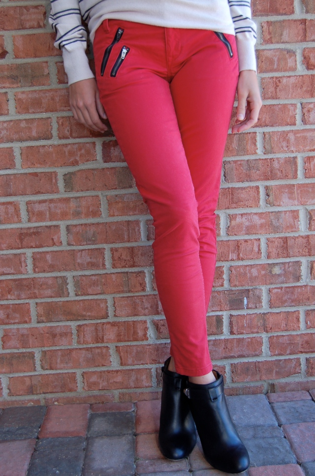 red gap pants coach booties