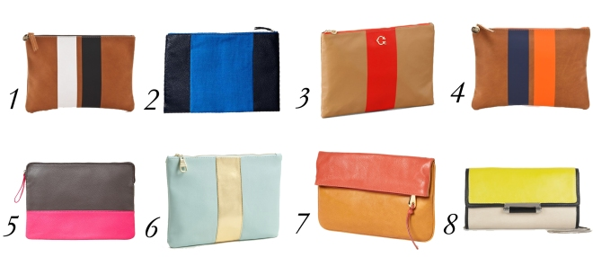 clutch with stripe, colorblock clutch, simple clutches, gap leather clutch, clare vivier clutch, steve madden clutch