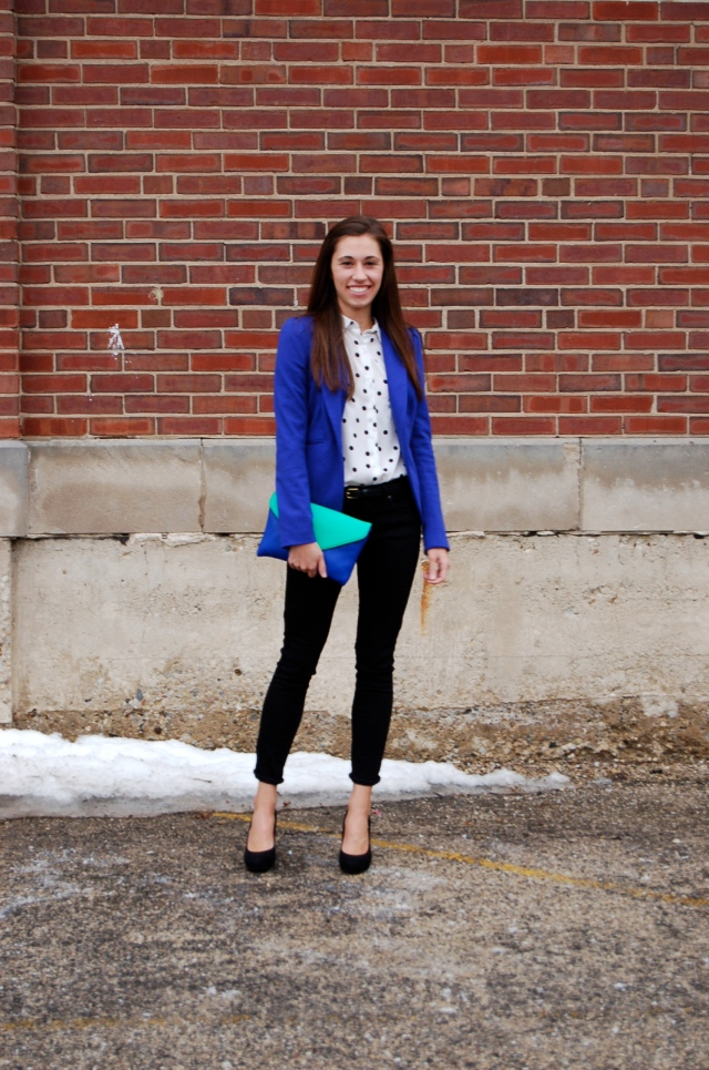 blue blazer black jeans