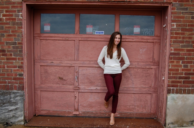 j. crew white v-neck sweater, burgundy corduroys, tan suede wedges, j. crew nude wedges