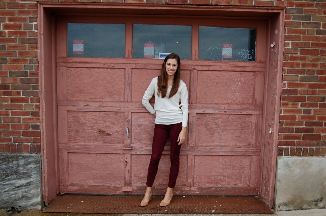 simple sweater and pants, oxblood corduroys, suede wedges, nude heels