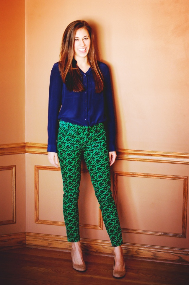 bow print corduroys, blue silk blouse, j. crew tan suede wedges