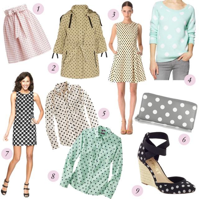 polka dot dress, polka dot skirt, polka dot wedges, polka dot wallet, polka dot blouse, polka dot trend