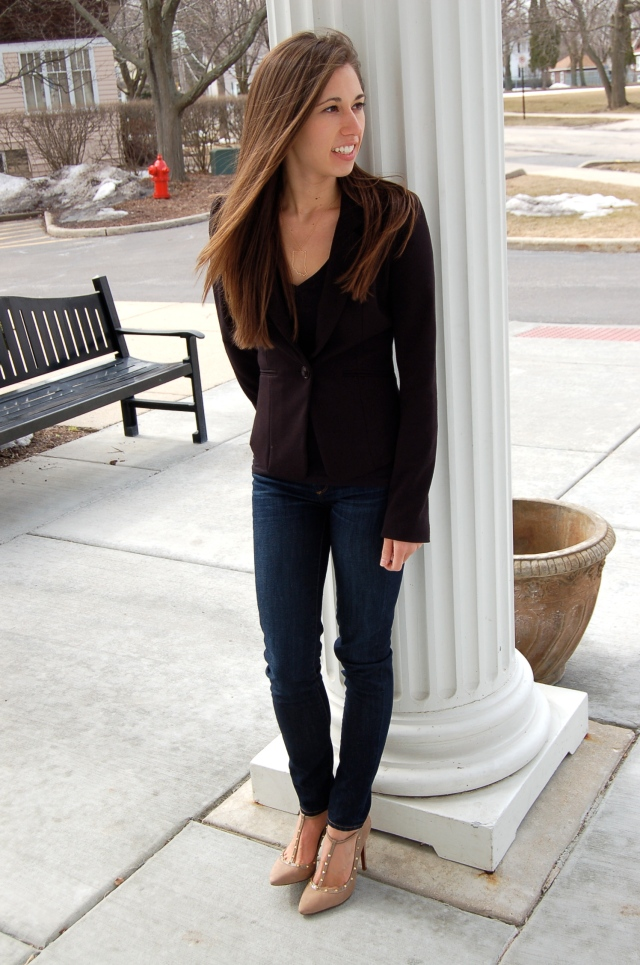 jeans and blazer outfit, classic outfit, simple outfit