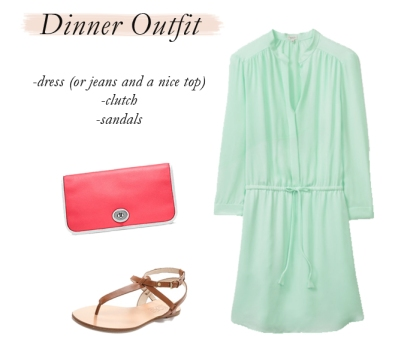 dinner outfit, simple shirtdress, how to pack lightly, spring break packing