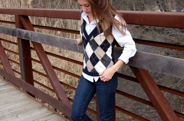 sweater vest outfit, classic sweater vest, j. crew, simple fashion blog, argyle sweater