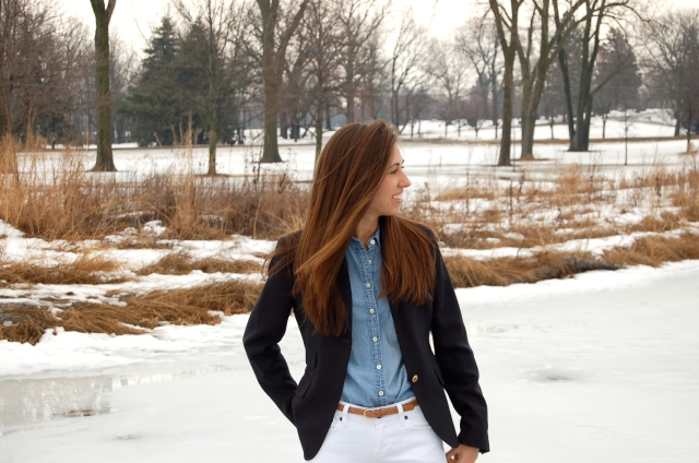simple fashion blog, preppy outfit, blazer jeans and wellies, blazer and boots outfit