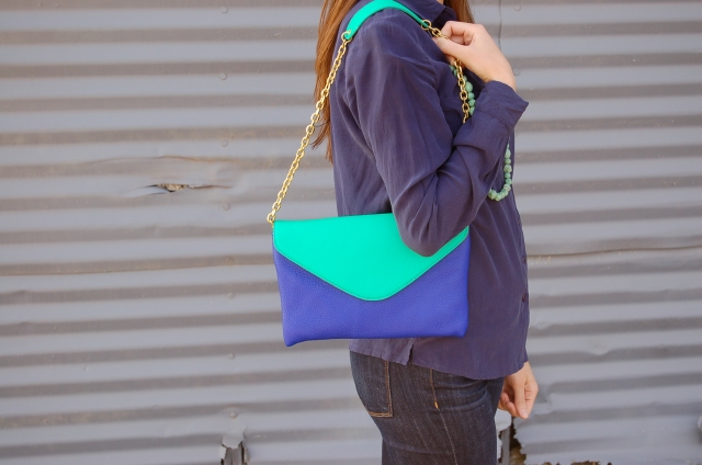 simple leather clutch, blue and green clutch, j. crew clutch, simple fashion blog