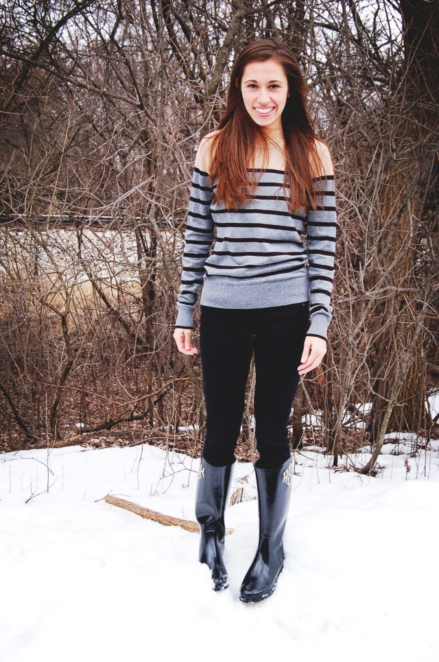 zoubaby boots, monogram rain boots, simple outfit, stripe sweater and jeans, simple fashion blog