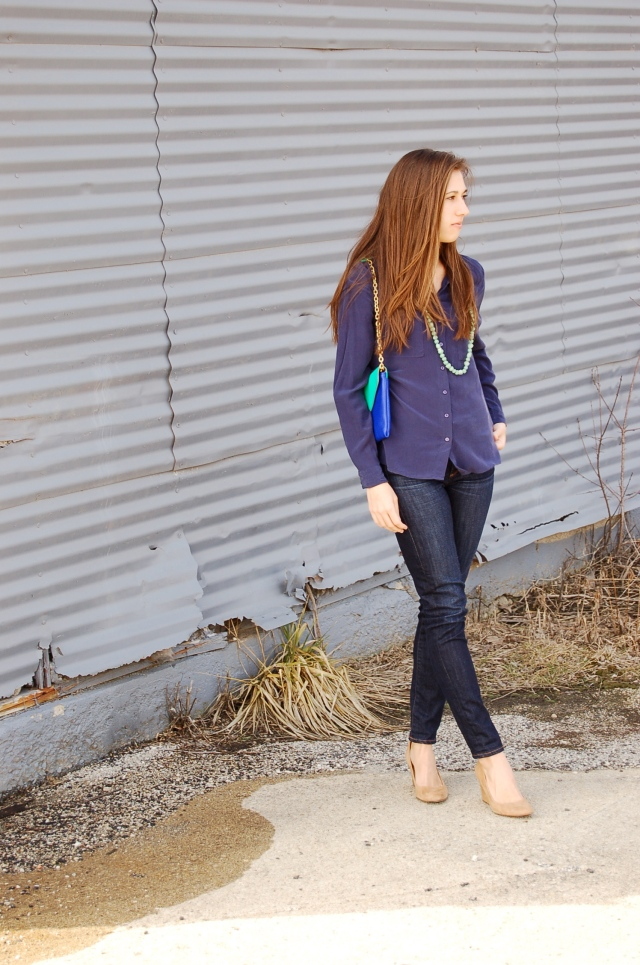 simple fashionable outfit, simple fashion blog, classic outfit, silk blouse and jeans