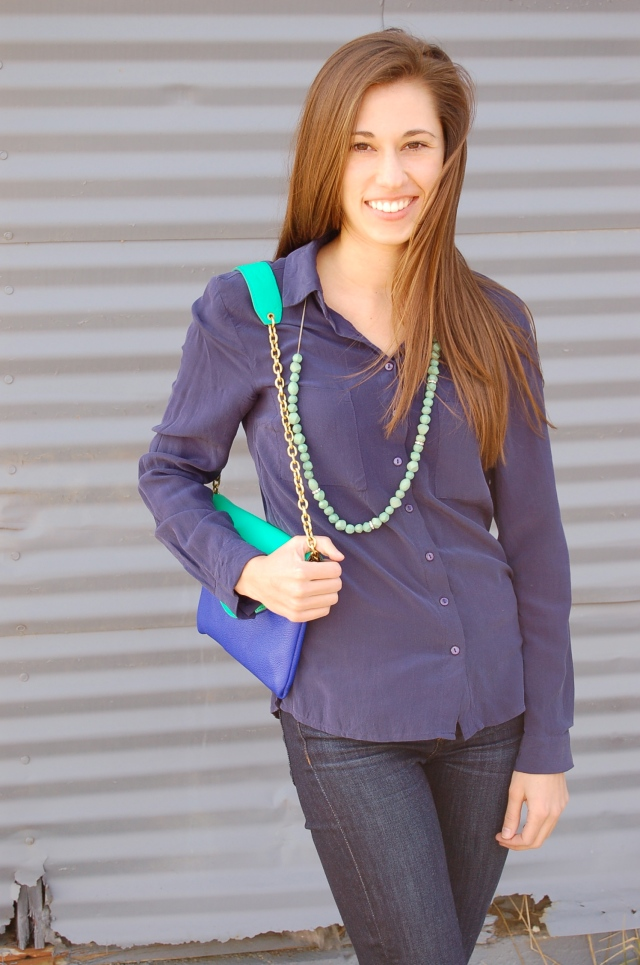 tinley road silk blouse, blue silk blouse, blouse and jeans, simple outfit, simple fashion blog, j. crew clutch
