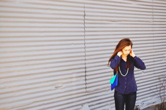 blue silk blouse, j. crew clutch, simple fashion blog