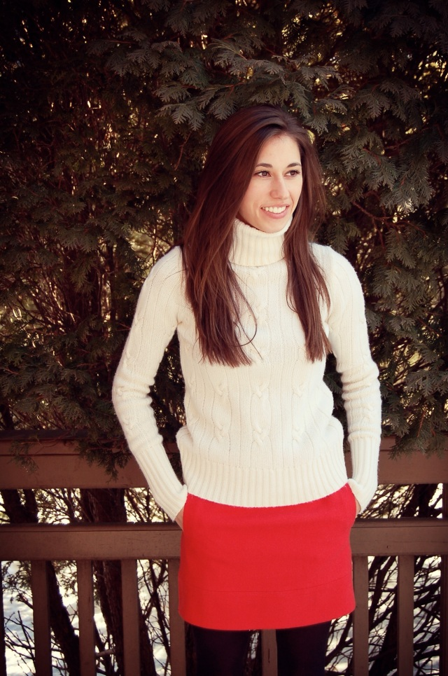 sweater and red skirt