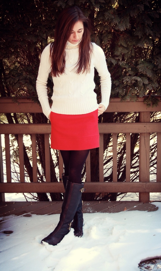 sweater, skirt and tights