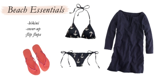 swim outfit, simple beack outfit, j. crew anchor bikini, how to pack lightly