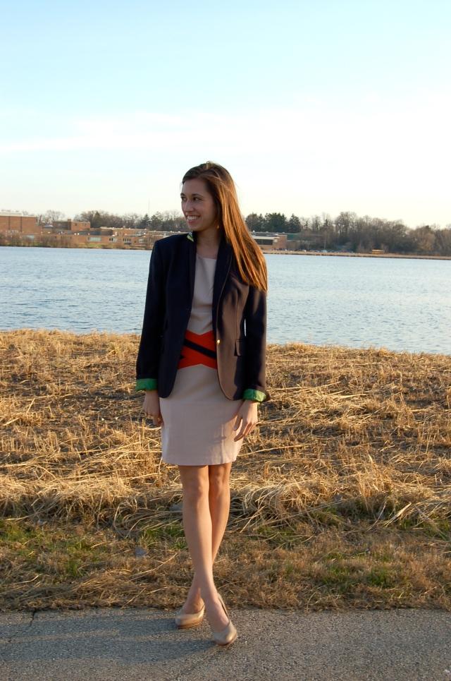 sheath dress with stripes, c. luce sheath dress, simple sheath dress